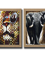 2 Panels Oil Painting Animal Lion And Elephant Abstract Pictures Hand Painted On Natura Linen With Stretched Frame