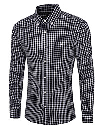 Men's Plaid Casual Shirt,Cotton Long Sleeve Black / Blue / Pink