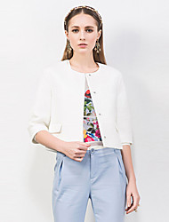 I'HAPPY Women's Going out Simple JacketsSolid Round Neck  Sleeve Spring / Fall Blue / White Polyester Medium