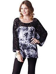 Women's Casual/Daily Simple Summer T-shirtPrint Round Neck Long Sleeve Blue Cotton / Nylon Thin