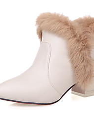 Damen-Stiefel-Büro Lässig-Kunstleder-Blockabsatz Block Ferse-Modische Stiefel-