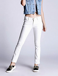 Women's Solid White Bootcut PantsStreet chic Fall