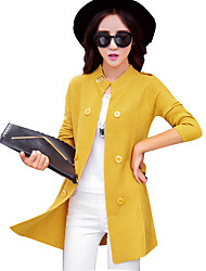 Women's Going out Simple Street chic Long Cardigan Coat Stand Collar Long Sleeve