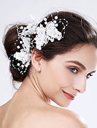 Women's Lace / Acrylic / Plastic Headpiece-Wedding / Special Occasion Flowers 3 Pieces Red