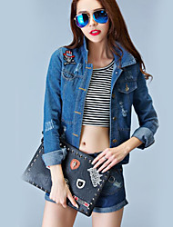 Women's Casual/Daily Simple Fall Denim JacketsSolid Shirt Collar Long Sleeve Blue Polyester Opaque