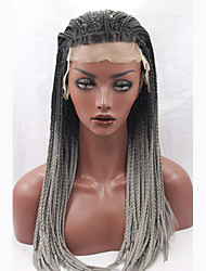 Fashion Long Straight Braids Synthetic Lace Front Wig Glueless 1b/grey Color Women Wigs