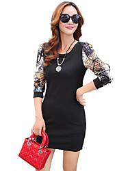 Feminino Bandagem Vestido,Happy-Hour / Casual / Tamanhos Grandes Moda de Rua Estampado / Patchwork Decote Redondo Acima do JoelhoManga