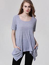 Damen Solide Einfach / Street Schick Ausgehen / Lässig/Alltäglich T-shirt,U-Ausschnitt Alle Saisons Kurzarm Grau Polyester Mittel