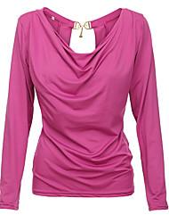 Damen Solide Sexy / Einfach Ausgehen / Lässig/Alltäglich T-shirt,V-Ausschnitt Alle Saisons Langarm Rot / Schwarz / LilaBaumwolle /