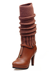 Women's  Fashion Boots / Novelty  Three kinds of tees in a boot/ Round Toe Cotton / Leatherette Office & Career