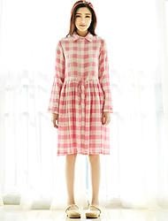 Ample Robe Femme Sortie simple,Tartan Mao Mi-long Manches Longues Rose Coton / Lin Printemps / Eté Taille Normale Non Elastique Fin
