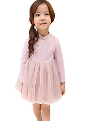 Girl's Going out Solid DressCotton / Rayon Spring / Fall Pink / Purple