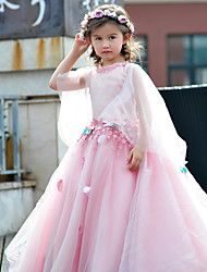 Ball Gown Floor-length Flower Girl Dress - Tulle / Charmeuse 3/4 Length Sleeve Jewel with Flower(s) / Lace