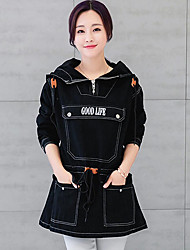 Women's Casual/Daily Simple Spring / Fall Denim JacketsSolid Hooded Long Sleeve Blue / Black Others Thick Cowboy