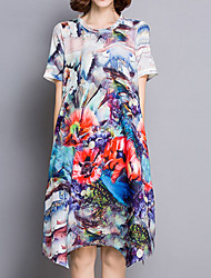 Women's Casual/Daily Chinoiserie Loose Dress,Floral Round Neck Midi Short Sleeve Multi-color Rayon Summer
