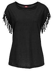 Damen Solide Sexy Lässig/Alltäglich / Übergröße T-shirt,Rundhalsausschnitt Herbst Kurzarm Schwarz / Braun / Grün Baumwolle Undurchsichtig
