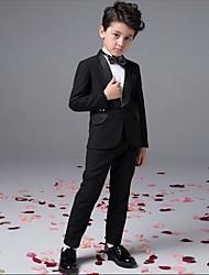 Мальчик Набор одежды,Вечеринка/коктейль,Однотонный,Хлопок,Все сезоны,Черный