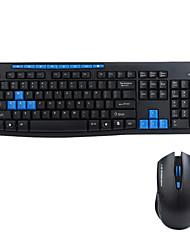 Gaming Keyboard Wireless Multimedia Ergonomic Gaming Keyboard Mouse Set for Desktop PC Black and Blue 8600