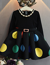 Girl's Casual/Daily Polka Dot DressCotton / Rayon Spring / Fall Black