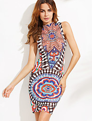 Multicolor Vintage Print Sheath Dress