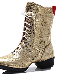 Women's Dance Shoes Boots Leatherette Breathable Low Heel Gold/Silver