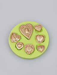 Top selling products 7 cavities love heart shape silicone mold for cake decoration tools