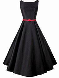 Women's Formal Vintage Swing Dress,Solid Round Neck Midi Sleeveless Rayon Summer