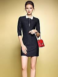 Women's Casual/Daily Sexy Sheath Dress,Striped Shirt Collar Above Knee ¾ Sleeve Blue / Black Polyester Fall