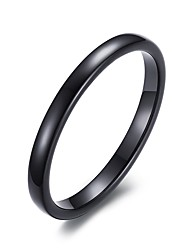Unisex's Fashion Simple Tungsten Steel High Polished  IP Black Plating Band Rings(1Pc)