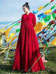 Ramie Cotton Women's Holiday Simple Loose DressSolid V Neck Maxi Long Sleeve Red Linen