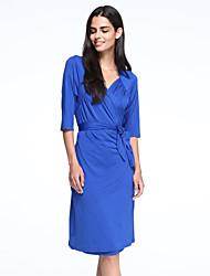 Robe Aux femmes Grandes Tailles Grandes Tailles / Soirée , Couleur Pleine Col en V Mi-long Polyester