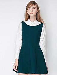 Trapèze Robe Femme Décontracté / Quotidien simple,Mosaïque Col de Chemise Au dessus du genou Manches Longues Vert Polyester AutomneTaille