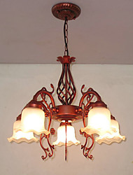 European Sitting Room Dining-room Bedroom lamp Wrought Iron Glass Chandelier Restoring ancient ways