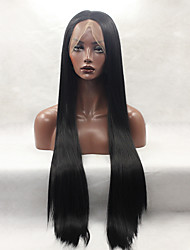 Fashion Long Straight Synthetic Lace Front Wig Glueless Black Color For Women Wigs