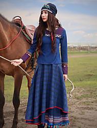 Mulheres Saias Longo Boho Lã / Poliéster Micro-Elástica Mulheres