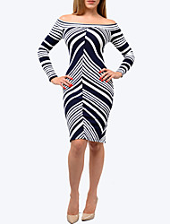 Women's Going out / Party/Cocktail / Club Sexy / Simple Bodycon DressStriped Boat Neck Above Knee