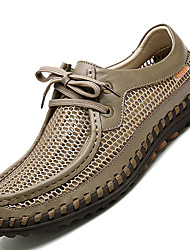 Men's Loafers & Slip-Ons Comfort Leather / Tulle Casual Flat Heel Lace-up Gray / Khaki Others