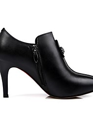 Women's Boots Spring Fall Winter Leather Outdoor Stiletto Heel Zipper Black Brown Other