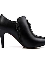 Черный / Коричневый-Женский-Для прогулок-Кожа-На шпильке-Военные ботинки-Ботинки