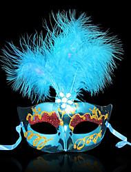 Halloween Mask Princess Masquerade Plumed Mask Female Luminous Feather LED Lighted Optical Fiber MASK Venice Party Mask