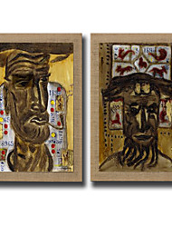 2 Panels Oil Painting Abstract Face Wall Art Pictures Hand Painted On Natura Linen With Stretched Frame Ready To Hang