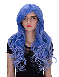 blue European and American fashion club big waves long curly hair