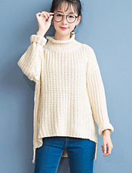 Women's Casual/Daily Cute Regular PulloverSolid White / Gray Turtleneck  Sleeve Polyester Fall / Winter Medium