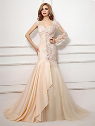 Formal Evening Dress - Beautiful Back Trumpet / Mermaid Sweetheart Court Train Taffeta Tulle with Appliques Beading