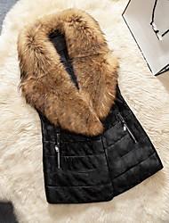 Feminino Casaco de Pelo Casual / Tamanhos Grandes Moda de Rua Inverno,Sólido Preto Pêlo Sintético / Pele de Cabra Decote V-Sem Manga