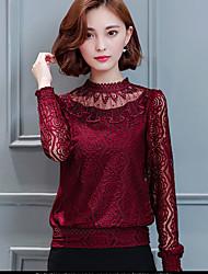 Damen Patchwork Niedlich Ausgehen T-shirt,Rundhalsausschnitt Herbst Langarm Rosa / Rot / Weiß / Schwarz Polyester Mittel
