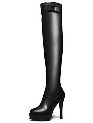 Damen-Stiefel-Lässig / Party & Festivität-Kunststoff-Stöckelabsatz-Modische Stiefel-Schwarz