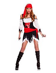 Costumes de Cosplay / Costume de Soirée Pirate Fête / Célébration Déguisement Halloween Rouge / Noir Lace Jupe / Ceinture / Coiffure