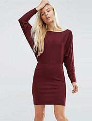 Women's Going out / Casual/Daily Simple OL Style Slim Sheath DressSolid Round Neck Above Knee Long Sleeve