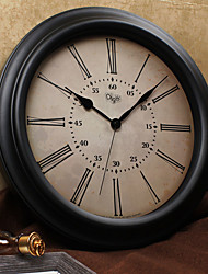 Vintage Wall Clock Round Shape Iron Case 16 inch Indoor Clock